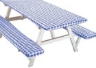 awesome blue white picnic table covers and pads