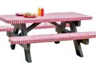 awesome red white picnic table covers and pads