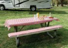 best red white picnic table covers and pads