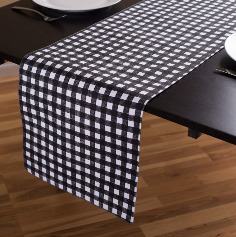 black and white checkered tablecloth