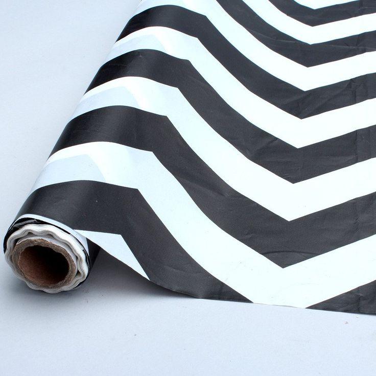 black chevron table cover roll