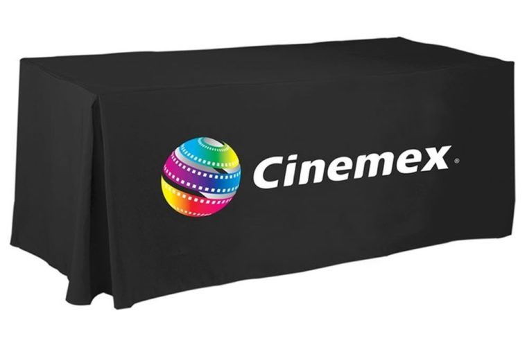 black custom fitted table covers vinyl with logo