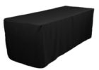 black elasticized table cover rectangle (standard)