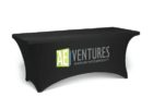 black promotional table cover with logo