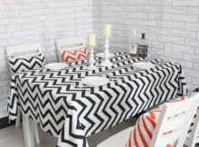 black red rectangular chevron table cover