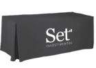 black stretch table covers with logo company