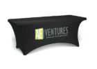 black stretch table covers with logo company design