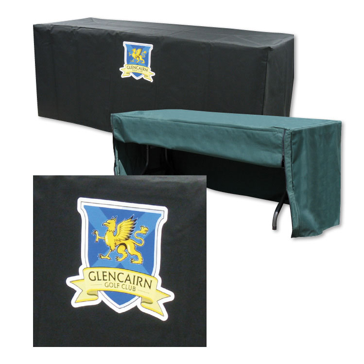 black stretch table covers with logo
