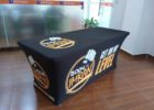 black trade show fitted table covers