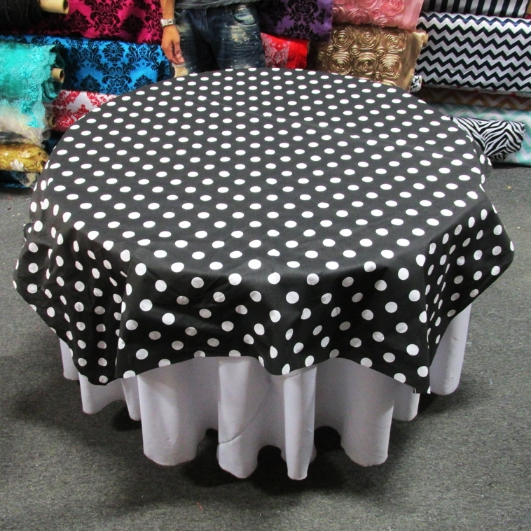 black white round polka dot table covers