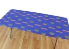 blue custom fitted table covers logo