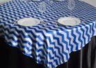 blue linen chevron table cover