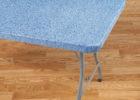 blue plastic rectangular elastic picnic table covers