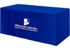 blue rectangular trade show fitted table covers