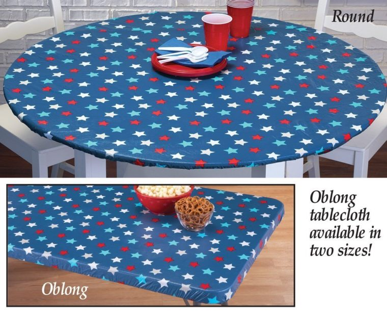 blue round fitted and elasticized table cover rectangle