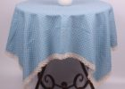 blue round polka dot table covers