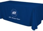 blue table covers with logo
