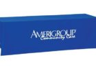 custom blue tradeshow table covers with logo