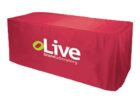 custom fitted table covers logo for trade show