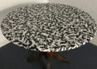 fitted black round vinyl elastic table covers