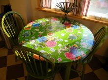 fitted green round vinyl elastic table covers