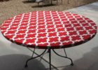 fitted red round vinyl elastic table covers