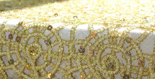 Gold Overlay Tablecloth Accents