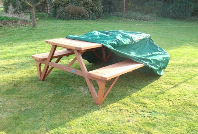 green bench and patio table covers rectangular