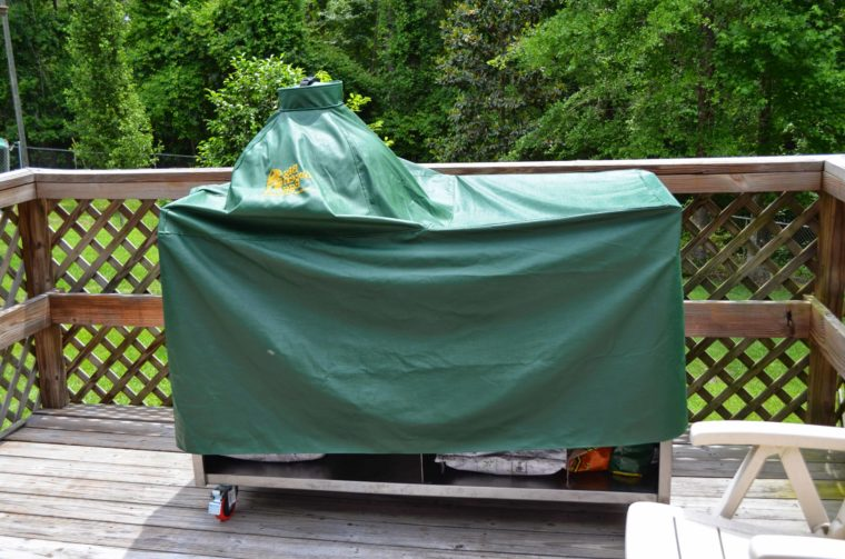green vinyl big green egg table cover