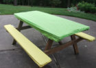 green yellow picnic table covers and pads