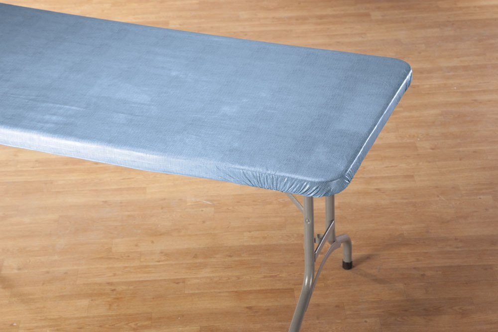 grey elasticized table cover rectangle