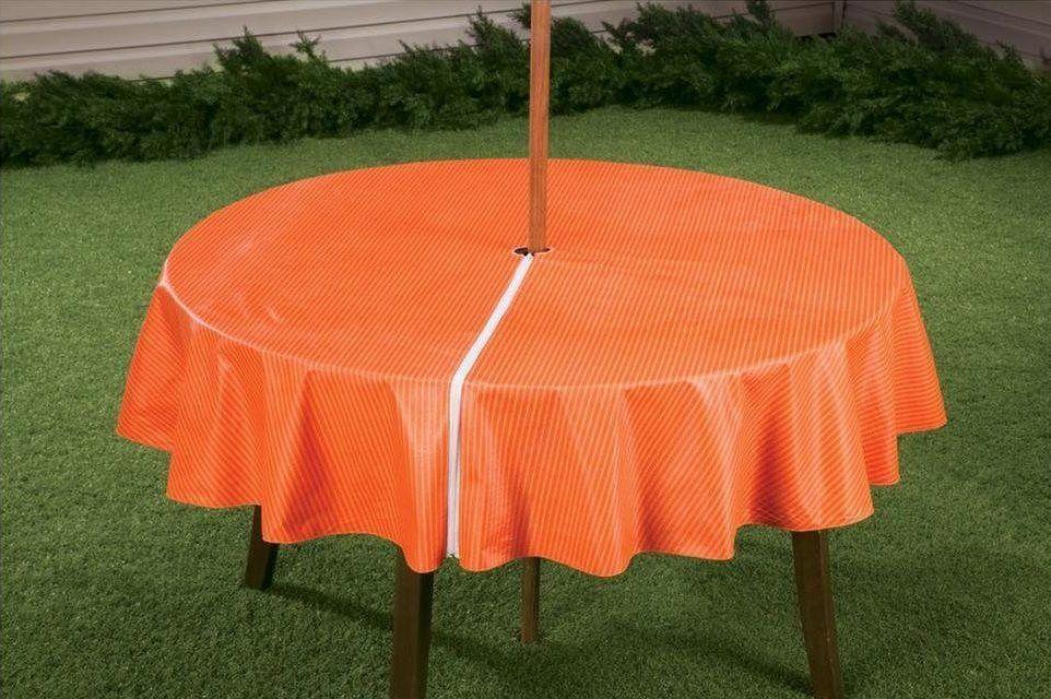 orange round zippered tablecloths