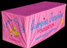 pink custom fitted table covers for trade show