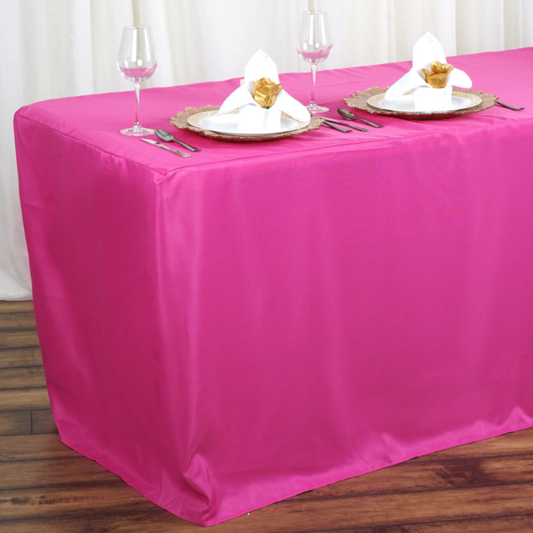 pink fitted rectangle tablecloths