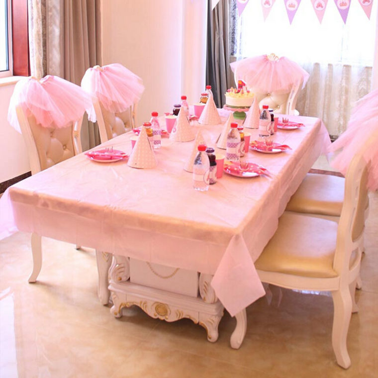 pink table covers for party