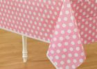 pink white polka dot table covers