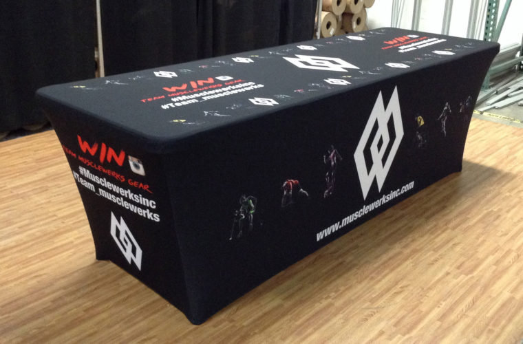 printed trade show fitted table covers