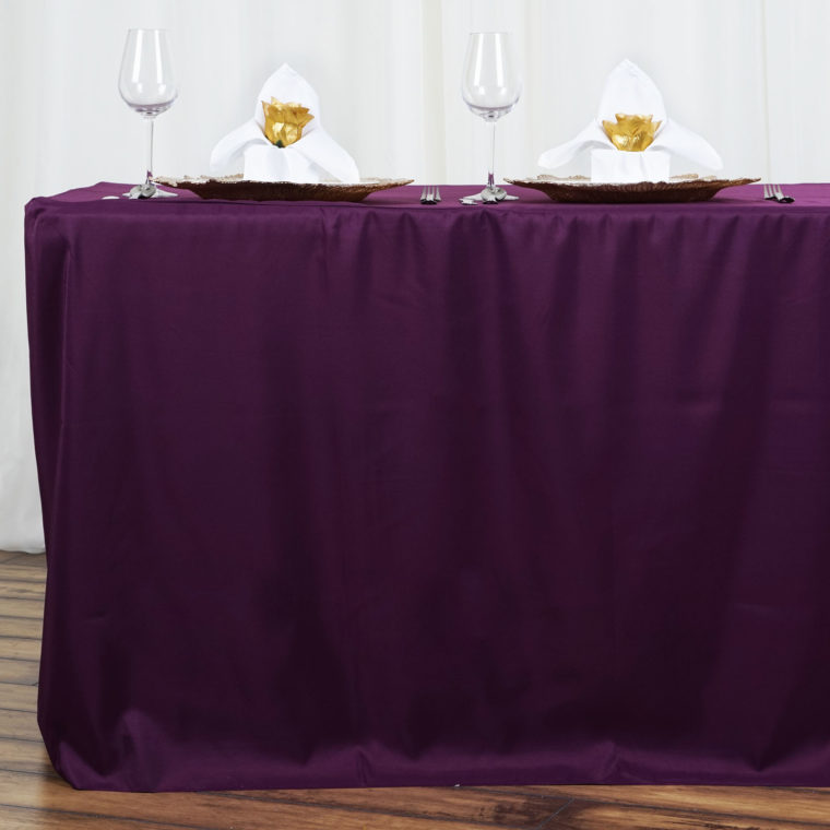 purple fitted rectangle tablecloths vinyl