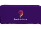 purple fitted table covers with logo