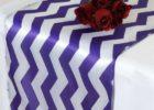 purple linen chevron table cover