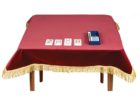 red bridge table covers with skirt