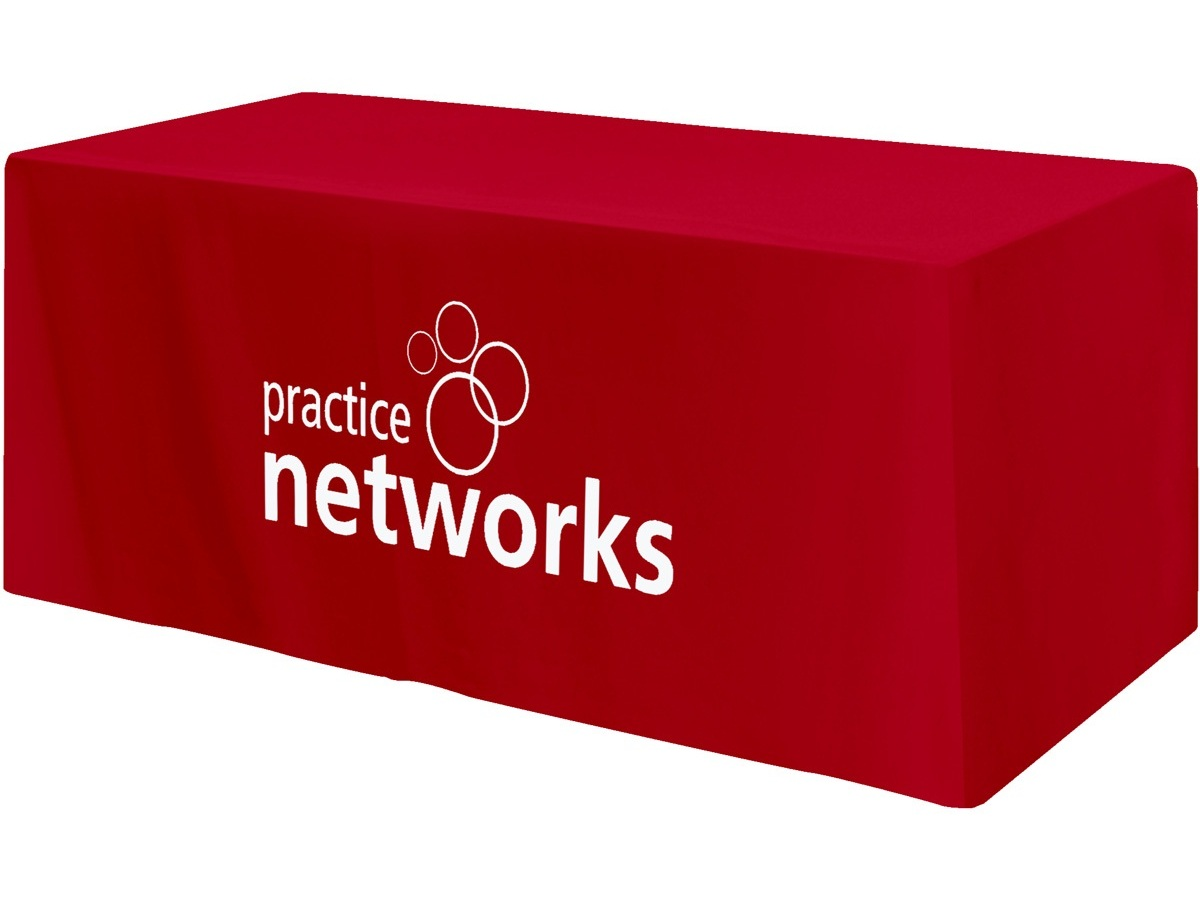 red custom fitted table covers logo