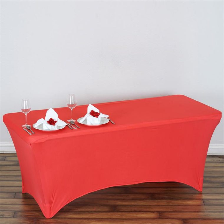 red elastic fitted rectangle tablecloths