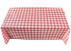 red fitted plastic table covers banquet