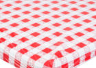 red fitted plastic table covers disposable