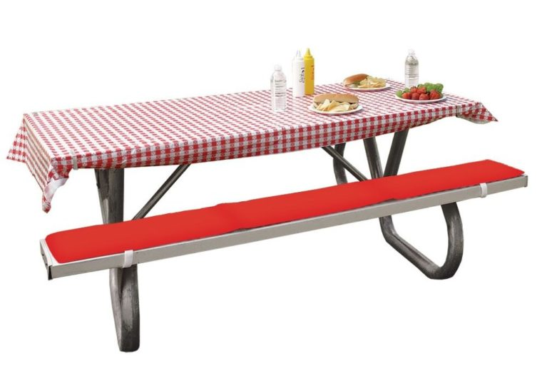 red picnic table covers and pads