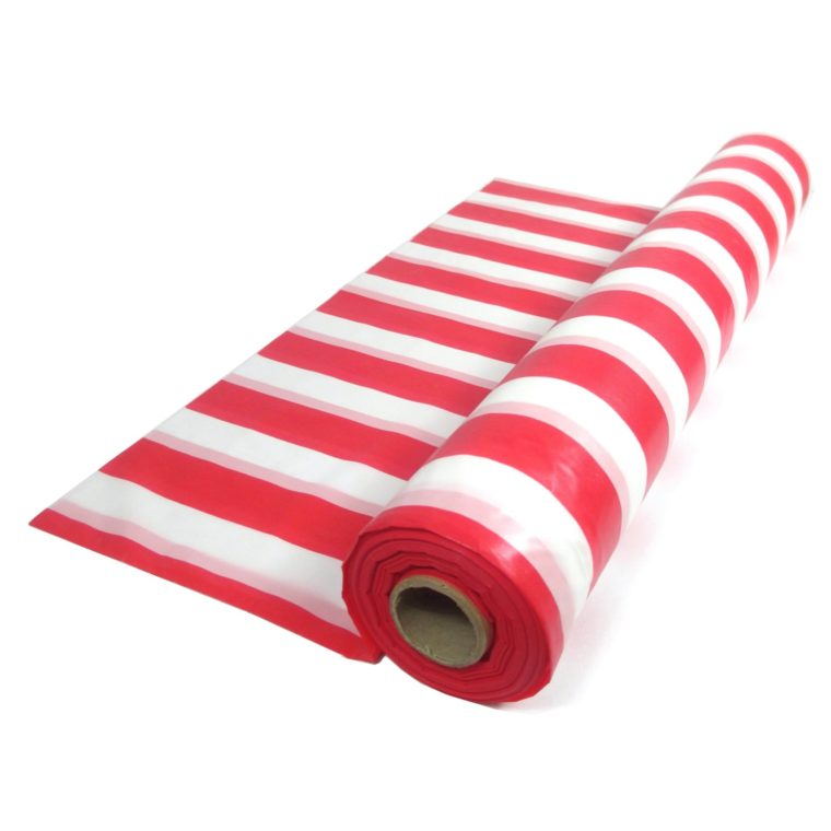 red plastic table cover rolls