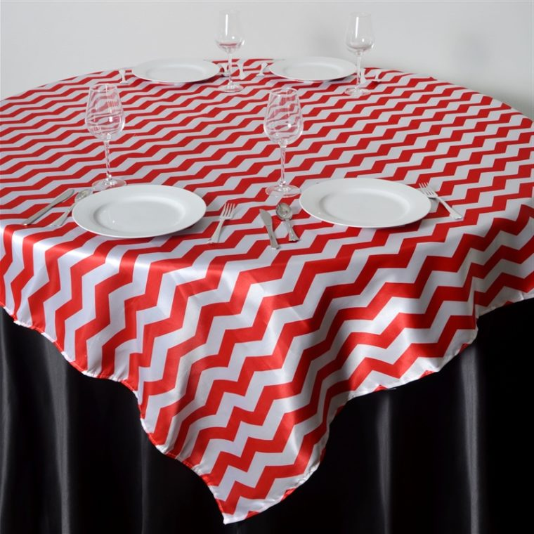 red round linen chevron table cover