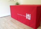 red stretch table covers with logo