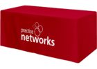 red table covers with logo